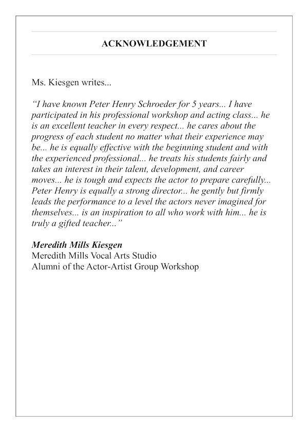 acknowledgement meredith kiesgen