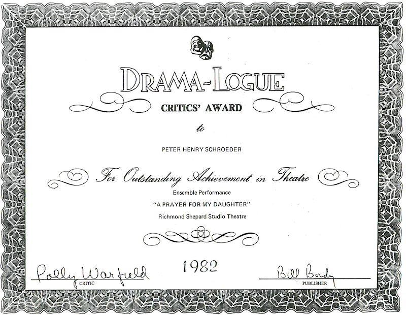 dramalogue critics award peter-henry schroeder