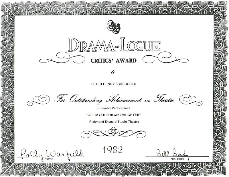 dramalogue critics award peter-henry schroeder